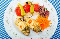Grilled vegetables served in the plate