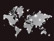 gray pixel world map with spot ligh