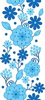 Delft blue Holland flowers vertical seamless pattern border