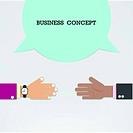 Businessman hands with speech bubble .Handshake or partnership concept.