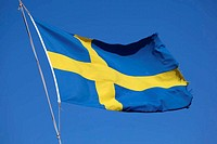 Flag of Sweden against blue sky