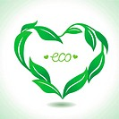 Vector heart frame made from green leaves