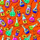 Vector Halloween cute hand drawn pattern with different poisons