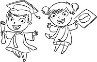 Graduate. Funny cartoon character