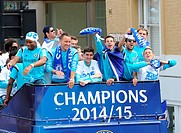 Chelsea Football Club players and staff take a victory parade on an open top bus after winning the Premier League Featuring: Didier Drogba, John Terry...