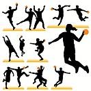 Handball Players Silhouettes Set