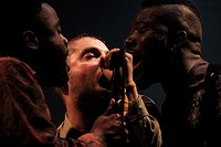 Young Fathers plays at Festival No.6 on 04/09/2015 at Portmeirion, Gwynedd, North Wales. The band consist of: Alloysious Massaquoi, Kayus Bankole, 'G'...