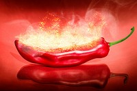 Blazing still-life photograph on a ingulfed red hot chilli pepper set on fire. Scorching hot food.