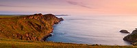 Penbwchdy Strumble Head Fishguard Pembrokeshire Wales in evening light.