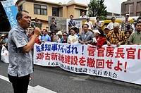 Naha, Okinawa, Japan: people protesting against Prime Minister Abe