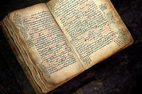 An open bible written in Amharic in an antique shop, Addis Ababa, Ethiopia, Africa.