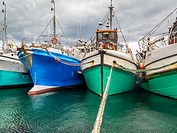 Fishing boats sheltering in a safe harbour. Western Cape Province, South Africa