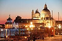 Sunset in the Grand Canal, Santa Maria della Salute Venice Italy.