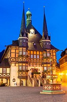 Market square and Town Hall at twilight, Wernigerode, Harz, Saxony-Anhalt, Germany.