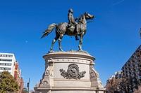 Major General George Henry Thomas Memorial Civil War Statue Moon Thonmas Circle Washington DC. Bronze statue dedicated in 1879; sculptor is John Quinc...