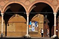 Italy, Emilia Romagna, Bologna, the Portico dei Servi at the entrance of Santa Maria dei Servi Basilica ...