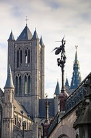 Belfort´s tower and Sint-Michiels sculpture from the bridge, Ghent, Belgium