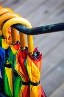 Detail of umbrellas hanging in Ghent, Belgium