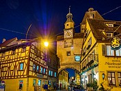 Rothenburg ob der Tauber, Markus Tower, Romantische Strasse, Romantic Road, Franconia, Bavaria, Germany, Europe.