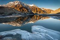 Mt Wakefield , winter reflection in Mueller Lake, Aoraki / Mount Cook National Park, Canterbury, New Zealand.