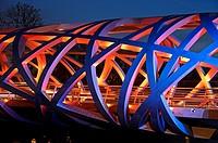 Light effects at the tube-shaped spatial structure of the Hans-Wilsdorf-bridge, Geneva, Switzerland.