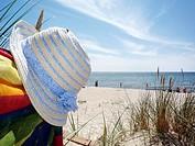 Summerhat. Sunprotection on the beach. Bornholm, Denmark.