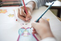 Children little artist painting hand brush colorful.