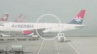 Zurich, Switzerland - 9 October 2014: AirSerbia aircraft at international airport in Zurich, Switzerland.