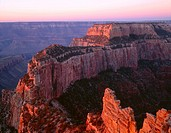 USA, Arizona, Grand Canyon National Park, North Rim, Sunrise light brightens Wotans Throne and surrounding canyon, from Cape Royal.