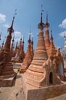 Hundreds of pagodas, ancient and new, cover a hillside at Idein Lake.