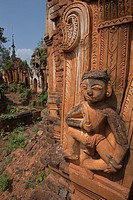A Hindu figure is a decorative element on one of the hundreds of stupas at Indein near Inle Lake.