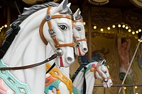 EU, France, Toulouse. Painted horses in a street carousel.