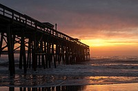 Pier at Sunrise, Atlantic Ocean, Florida, USA