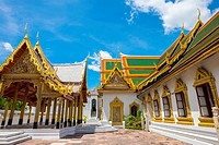 Phra Thinang Racharuedee pavilion and Phra Thinang Amarin Winitchai throne hall, Grand Palace complex, Bangkok, Thailand.
