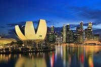 Art Science Museum and Marina Bay at Dusk, Singapore.