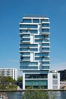 New luxury high-rise apartment building built beside Berlin Wall on River Spree in Friedrichshain Berlin Germany.