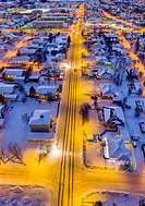 Aerial view- Street and homes in the winter, Akureyri, Iceland. This image is shot using a drone.