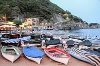 Fishing harbor Ligurian coast in Monterosso al Mare Cinque Terre La Spezia Italy.