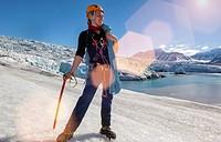 people hiking in nordenskiold glacier. svalbard. norway.