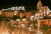 Albarracin by night panorama, Aragon,Teruel. One of the Spain´s prettiest villages.