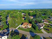 Aerial view of Upscale new residential home in a middle class neighborhood.