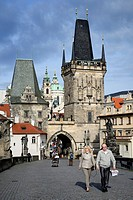 Czech Republic, Prague, historic centre listed as World Heritage by UNESCO, Charles Bridge (Karluv Most), the Gothic tower at the entrance of the brid...