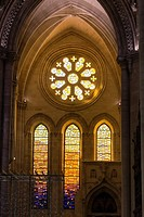 Detail of stained glass window in the interior of the Cathedral of Our Lady of Grace and Saint Julian of Cuenca. Castilla-La Mancha, Spain.