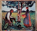 Traditional Adam and Eve composition to create a nice symbolic image. A recognized forerunner of Expressionism, Edvard Munch, norwegian painter he is ...