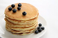 Stack of blueberry pancakes.