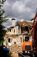 construction site digger demolition.