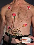 man torso cardiology monitoring.