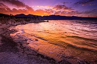 Sunset over the Sierra Nevada Mountains from Mono Lake, Mono Basin National Scenic Area, California USA.