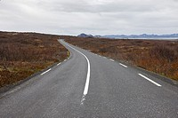 thingvallavegur route 36 road through thingvellir golden circle Iceland.