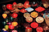 Traditional silk and bamboo lanterns for sale in Hoi An, Vietnam, Asia.